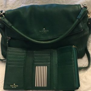 Kelly Green Kate Spade purse and wallet